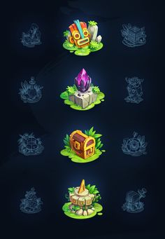 me Art : We're glad to represent you our new RPG game concept - Treasure Hunter. It's a game with brave and inventive tiger Rocky who, despite everything, hunts for treasure. Discover the new bright world with different animal characte Isometric Art, Isometric Design, Game Ui Design, Logo Design, Design Art, Game Character, Character Design, Medieval, Hunter Games