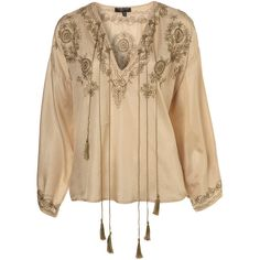 Primrose Yellow Silk Gypsy Rock Blouse ($50) ❤ liked on Polyvore featuring tops, blouses, shirts, blusas, women, embroidered shirts, brown shirts, brown silk blouse, yellow blouse and tassel shirt
