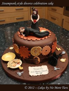 Steampunk-style divorce cake by Cakes by No More Tiers
