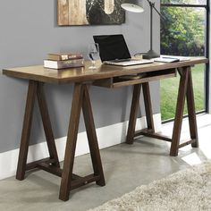 Simpli Home Sawhorse Computer Desk with Integrated Keyboard Tray | AllModern