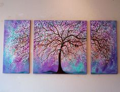 Large Commission Original oil Painting -Violet, Purple, mint cherry tree-and love birds- 48 x 24 from jeanvadalsmith on Etsy. Saved to art. Doodle Inspiration, Painting Inspiration, Multi Canvas Painting, Multiple Canvas Paintings, Cuadros Diy, Tree Art, Beautiful Artwork, Diy Art, Painting & Drawing
