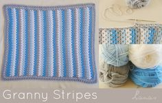 Lanas de Ana: 2 Blankets with Granny Stripes diagram