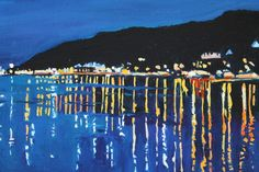 Buy Mumbles in the Night Time, Oil painting by Emma Cownie on Artfinder. Painting Gallery, Painting Prints, Acrylic Paintings, Landscape Art, Landscape Paintings, Landscapes, City Art, Nocturne, Paintings For Sale