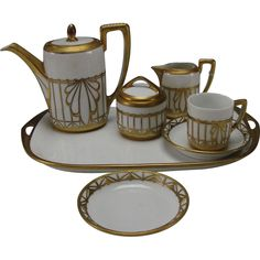 Art Deco Rosenthal Brass Ormolu Decorated Espresso Tea Set http://www.rubylane.com/item/518922-417sk-313/Art-Deco-Rosenthal-Brass-Ormolu-Decorated with <3 from JDzigner www.jdzigner.com