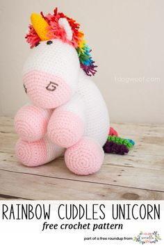 Get the free crochet pattern for this rainbow cuddles unicorn amigurumi toy from One Dog Woof featured in my gender neutral rainbow baby blanket FREE pattern roundup!
