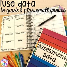 Use data to plan Small group ideas tips and tricks for preschool pre-k and kindergarten FREE printable list! New Classroom, Kindergarten Classroom, Kindergarten Activities, Preschool Activities, Classroom Ideas, Kindergarten Portfolio, Preschool Alphabet, Autism Classroom, Small Group Organization