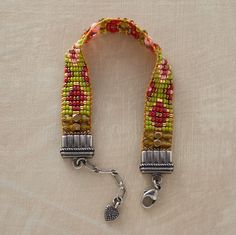 """Sundance  Summer Solstice Beaded Bracelet  Handmade in Santa Fe by Adonnah Langer, our intricately beaded bracelet is hand loomed with multicolored Czech and Japanese beads, fire-polished and brass beads. Brushed sterling endcaps and lobster clasp. Exclusive. 6-1/2"""" to 7-1/4""""L."""