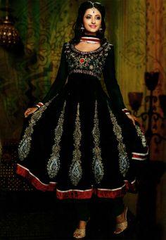 Salwar Suits Online: Latest Indian Salwar Kameez For Women, at Utsav Fashion Black Salwar Kameez, Black Anarkali, Anarkali Dress, Anarkali Suits, Anarkali Churidar, Churidar Suits, Indian Dresses, Indian Outfits, Indian Clothes