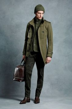 With olive green cardigan, trousers, brown shoes and big brown bag - Styleoholic