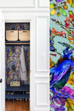 Wallpaper is having a major moment. As far as we're concerned, it never went away, however, we are seeing all kinds of new bold and bright prints that we adore. And applying wallpaper in unexpected places, like a feature wall, closet, or pantry is emerging as a trend, too. Which means you can have a big impact, without using a lot of product. Bold Wallpaper, Unique Wallpaper, Peel And Stick Wallpaper, Hall Closet, Inspired Homes, Storage Spaces, Pantry, Small Spaces, Pattern Design