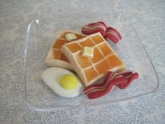 Sized for American Girl Doll Food: Breakfast Waffles with bacon, egg #ArtistMade