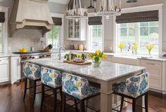 """New Kitchen Design by Martha O'Hara Interiors - """"Countertop & Bar Stools"""" (Counters: Vanilla Ice Granite; Stools: Jessica Charles 99-32 Metro Bar Stools)"""