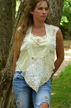 BoHo Chic Ivory Vintage Doily Lace Top w/100 by AngelesGarden, $50.00
