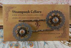 Steampunk Polymer Clay metal gear hairpins set by SteampunkCellars (Accessories, Hair, Bobby Pin, steampunk, watch parts, metallic, heartsy, steampunk barrette, steampunk hairpin, steampunk bobbypin, steampunk butterfly, gear hairpins, gear bobbypin, gear barette)