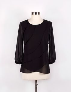 Sparrow — Silk Tiered Blouse in Black