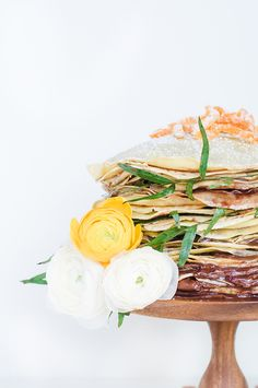nutella crepe cake with candied citrus zest..