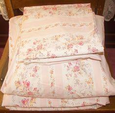 Vintage Ralph Lauren Millicent Pink Stripe Floral Full DOUBLE SHEET Set 4 PC  #RalphLauren #FrenchCountry