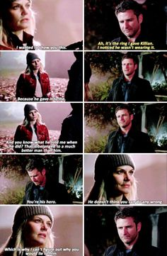 """You're his hero. He doesn't think you can do any wrong. Which is why I can't figure out why you would lie to him"" - Emma and Liam #OnceUponATime"