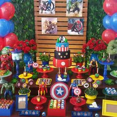 I like the cake/candy stand idea. they look 👀 easy to replicate Superman Birthday Party, Avengers Birthday, 4th Birthday Parties, Superhero Party, Birthday Party Decorations, Boy Birthday, Party Themes, Birthday Ideas, Candy Stand