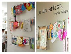A beautiful meeting of commerce and creativity:  have your local cafe do a kids' art exhibit.