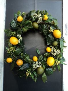 Citrusy welcome wreath...refreshing and inviting