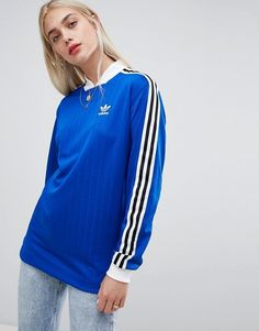 best loved 0a89e 2d69f adidas Originals Three Stripe T-Shirt In Blue With Logo Print Back