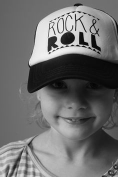 Rock & Roll kids cap , black and white www.studiosaar.nl