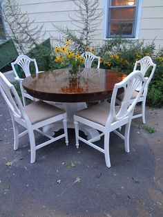 Heir and Space - Antique round pedestal dining set with matching Federal style chairs