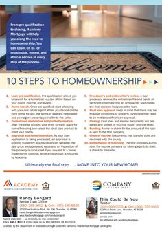 #homebuyer resources. These are the 10 Steps to #homeownership. Get this flyer customized with your #realtor co-branding. Loan Officer Randy Bongard - Academy Mortgage Chandler Branch