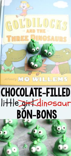 How cute!  A snack to make after reading Goldilocks and the Three Dinosaurs by Mo Willems- a fun twist that Goldilocks herself might make!