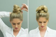 From elegant styles to more casual looks that still look great, these hairstyles are perfect for the woman who wants to look fabulous but simply doesn't have the time. Double Ponytail, Ponytail Bun, Messy Bun, Two Ponytails, Bun Hairstyles, Insta Makeup, Girl Boss, Body Care, Casual Looks