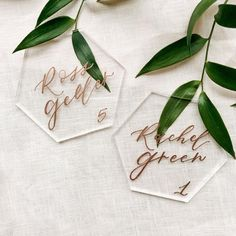 These hexagon acrylic place cards add a modern and elegant touch to any place setting! All place cards are handwritten by me in my signature modern calligraphy font. Simple Wedding Decorations, Simple Weddings, Wedding Places, Wedding Place Cards, Wedding Stuff, Wedding Envelopes, Wedding Stationery, Wedding Coasters, Modern Wedding Inspiration