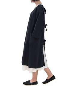 joker dress-coat - black linen cotton