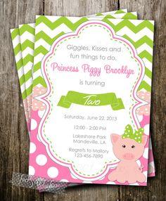 Pink Pig Princess Invitation Piggy Party Birthday Invite Preppy Bow Girly Farm Animal
