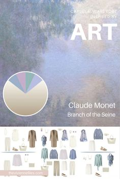 A Travel Capsule Wardrobe in Cool Beige, mauve, blue, and green, inspired by Branch of the Seine by Claude Monet Capsule Wardrobe Mom, Mom Wardrobe, Travel Wardrobe, French Minimalist Wardrobe, Summer Minimalist, The Last Laugh, Travel Capsule, The Vivienne, Fashion Capsule