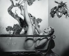 Lili St. Cyr became one of biggest headliners in burlesque, traveling coast to coast. In 1946, with the help of millionaire interior decorator Tom Douglas, she created a bubble bath striptease featuring a transparent glass tub that would become her trademark.