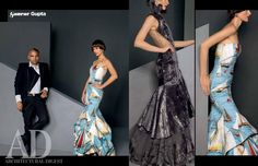 Architectural Digest India called upon seven prolific fashion designers for one very unique challenge: to create high fashion couture from upholstery fabric to blur the lines between fashion & unconventional fabrics.  Here are two bespoke gowns crafted by Gaurav Gupta from the luxurious & opulent fabrics, exclusively for Architectural Digest   See the feature in the November 2014 issue of Architectural Digest India