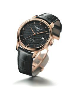 Relojes para novio o bodas: Reloj Tissot Le Locle chapado en oro rosa con correa de piel