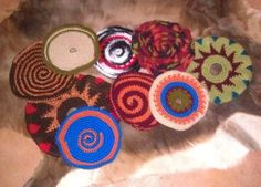 Super-fun crochet frisbees Jean made. They fly great and you can fold them up and carry them in your pocket! You don't have to worry about hurting your dog or accidentally damaging something with a wild throw!
