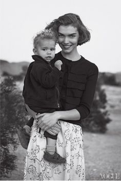 Arizona Muse and her son Nikko.