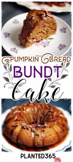 Pumpkin Bread Bundt Cake from Planted365 Vegan Gluten-Free Recipe PIN IT NEW Vegan Gluten Free, Gluten Free Recipes, Baking Recipes, Cake Recipes, Vegan Recipes, Dessert Recipes, Pumpkin Bundt Cake, Pumpkin Bread, Vegan Sweets