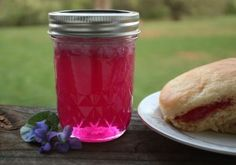 Homemade jelly made from springtime violets. (yummy, tastes grape-ish!)