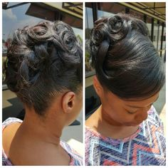 Updo On Relaxed Hair Black Hairstyles In 2019 Hair Black Hairstyles Medium Length, Black Hairstyles Sew In, Braided Hairstyles, Natural Hairstyles, Woman Hairstyles, Elegant Hairstyles, Wedding Hairstyles, Natural Hair Styles For Black Women, Short Hair Styles Easy