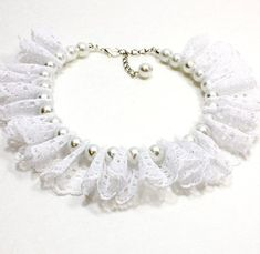 Is your best friend in your wedding party? This white pearl and white lace ruffle dog collar is the perfect thing. Or can wedding party Your place to buy and sell all things handmade Dog Accessories, Wedding Accessories, Pearl White, White Lace, Beaded Dog Collar, Lace Ruffle, Eyelet Lace, Dog Clothes Patterns, Dog Wedding