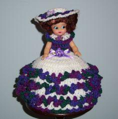 Air Freshener Crochet Patterns Free   Air Freshener Toilet Tissue Cover Doll Crochet White with Variegated ...