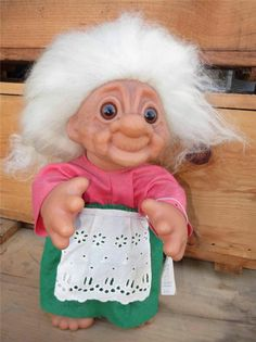"Vintage 1977 Thomas Dam 13"" Grandma Troll Doll ~ ""Granny"" made in Denmark!"