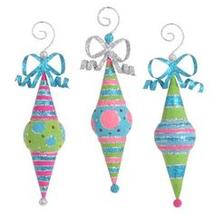 """RAZ Glittered Flocked Finial Christmas Ornament Set of 3  3 Assorted styles Set includes one of each style Pink, Blue, Green, Silver Made of Plastic Measures 10.5"""", 10.5"""", 10.5"""" RAZ"""