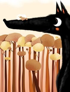 A sheep asleep with a friendly wolf | Illustration by Lucie Brunelliere@Lucie Thiam