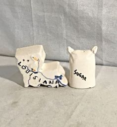 Vintage Louisiana With Sugar Sack State Shape Salt Pepper Shakers Parkcraft | eBay