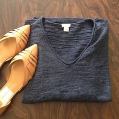 J. Crew Lightweight Sweater J. Crew sweater - really lightweight, 3/4 sleeves. Darker blue color. Size small but I usually wear medium and this fits me. Great condition! J. Crew Tops